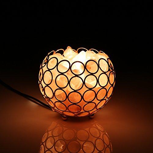European Style Himalayan Salt Lamp Creative and fashionable Bedside Lamp Golden Metal basket Design ,2 Bulb with UL Cord(British regulatory)