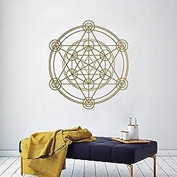 GEOMETRÍA SAGRADA Calcomanía de la pared Cubo de Metatron Alquimia Geometría Etiqueta de vinilo Etiqueta Mural Para la línea Line Mandala círculo 57 * 57 cm