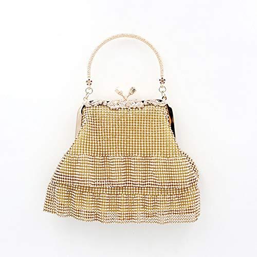 Voll Perlen Handtasche (ZYXB Voller Diamanten Perlen Handtasche Mini Totes Fashion Abend Clutch Bag weibliche Kette Umhängetasche Party Geldbörse Exquisite Hochzeit Tasche,A2)