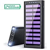 Solar Power Bank 24000mAh Battery Pack with Portable Charger with three Input (Micro,Type-C,L input)Strong 4 Output Design for All USB device (Phone,Tablet,Bluetooth Earphone)