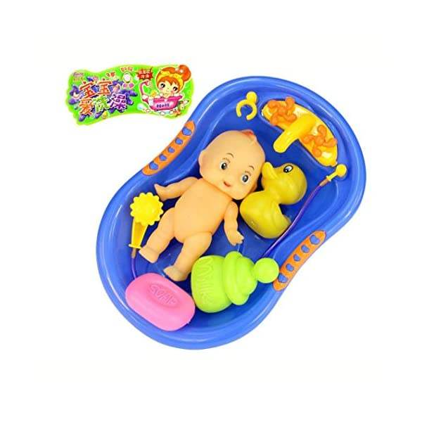 WSSB Bath Toys, Baby Doll In Bath Tub With Shower accessories Set Kids Pretend Role Play Toy