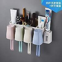 Cepillo de dientes multifuncional Estante Rack Tipo de pared Baño Baño Cepillado Conjunto de limpieza de dientes Soporte de porta dientes Colgador de pared ...