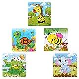 Sumnacon Puzzle enfant, 16pcs chaque tableau( ensemble 5 tableaux)avec des images d'animaux (éléphant, abeille, girafe, grenouille, tortue), amusant jouet pour enfants et bon choix pour l'éducation des enfants, adapté pour 3-7 ans enfants (5 tableaux)