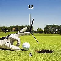 Artland Orologio da parete stampa digitale su tela su cornice in legno steso basso rumore meccanismo di qualità Diego cervo Golf Club Sport Calcio Sport Golf Fotografia Verde 30x 30x 2,8cm