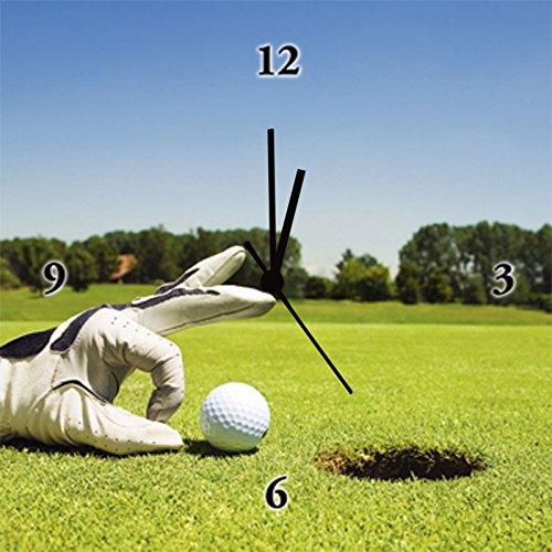 Artland analoge Wand-Quarz-Uhr Digital-Druck Leinwand auf Holz-Rahmen gespannt mit Motiv Diego Cervo Golf Club Sport Ballsport Golf Fotografie Grün 30 x 30 x 2,8 cm A5KY