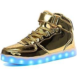 Voovix LED Enciende para Arriba los Zapatos para los Muchachos y las Muchachas (Gold, EU32/CN32)