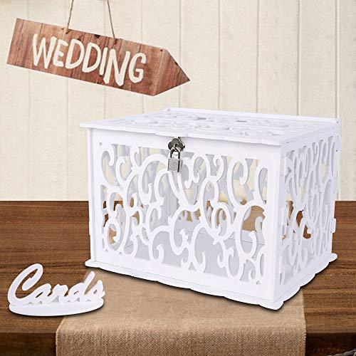 Aparty4u DIY Hochzeitskartenbox Hochzeit Postbox mit Schloss PVC Geschenkkarten-Box für Empfang Jahrestag Abschlussfeier Geburtstag Party Babyparty Weiß