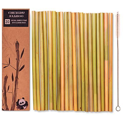 20 wiederverwendbare Bambustrinkhalme - 20cm lange Strohhalme von Chengdu Bambus, die biologisch abbaubar sind und sich hervorragend für die Umwelt eignen! Jedes Set wird in einer stilvollen Box geliefert und enthält eine Reinigungsbürste. Wohltätigkeitsspende bei jedem Einkauf. (Stroh-hüte Bulk)