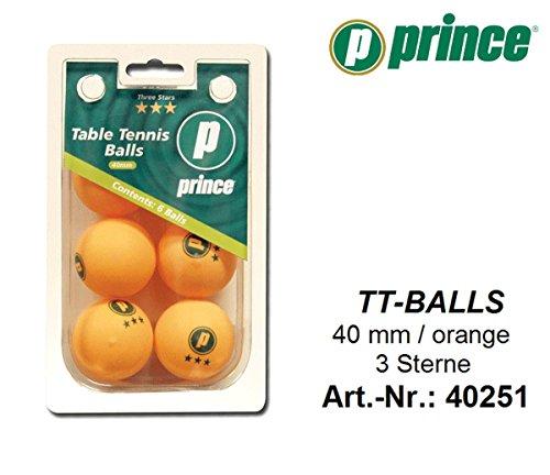 Unbekannt Prince TT Balls orange 6 Stück 3 Sterne 40mm Tischtennis Bälle -