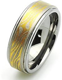 Pequeños Tesoros - 8MM Carburo De Tungsteno - Anillo De Matrimonio Chapado en oro Libre de