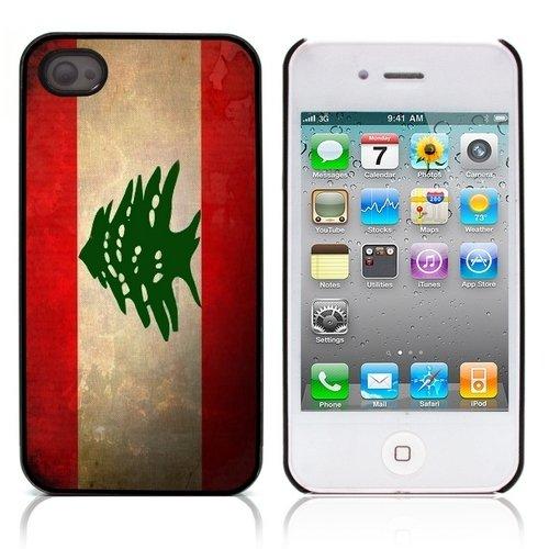 Graphic4You Vintage Uralt Flagge Von Marokko Marokkanisch Design Harte Hülle Case Tasche Schutzhülle für Apple iPhone 4 und 4S Libanon Libanesisch