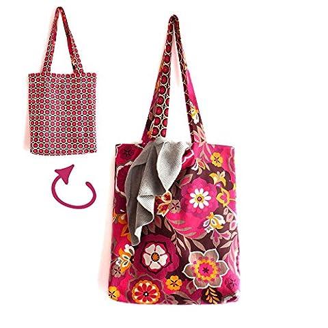 Tote bag sac réversible tissu fleurs graphique feuilles rose fuchsia marron taupe printemps été cabas cadeau pour elle plage course coloré