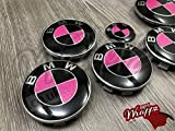 Rosa Glitzer & Schwarz-Glänzend Abzeichen Emblem Vinyl Überzug Aufkleber Superwrappz Bezüge für BMW Haube Koffer Felgen Räder für Alle BMW Serie 1 2 3 4 5 6 7 X1 X2 X3 X4 X5 X6 Z1 Z3, Z4, Z8, M Sport