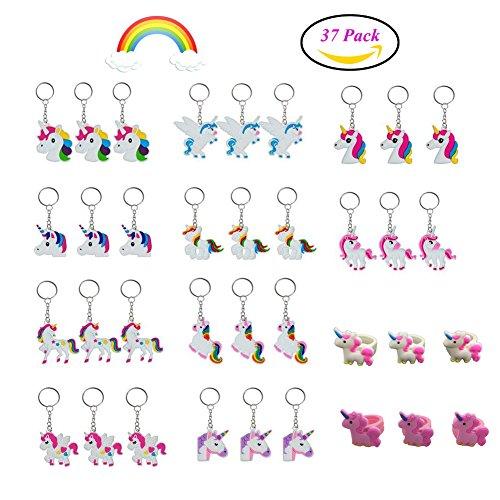 Qutaway 37 Cadena Piezas del Unicornio del Arco Iris Clave Clave Partido del Unicornio Anillo Material Llavero Monedero Fiesta de Cumpleaños Colgante del Bolso favorece los Regalos para los Niños