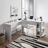 L-förmiger Computer und Büroschreibtisch, großer PC-Ecktisch mit 2Ablagen für Zuhause und Büro weiß