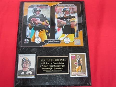 Terry Bradshaw Ben Roethlisberger Steelers 2 Card Collector Plaque w/8x10 Photo! by J & C Baseball