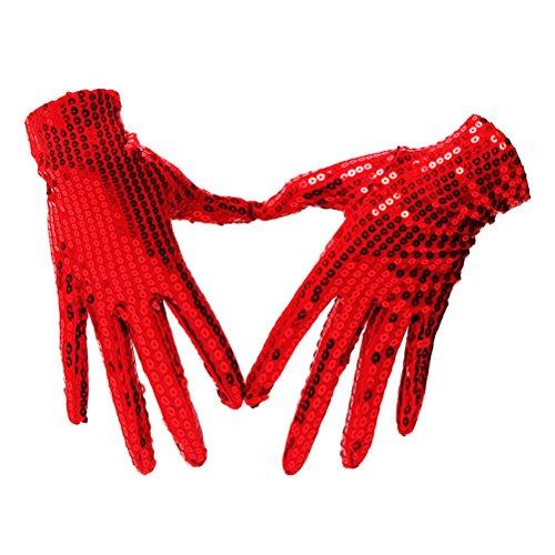 Tinksky Frauen Männer Kostüm Handschuhe Sequins Handschuhe Handgelenk Länge kurze Party Handschuhe für Erwachsene Tanz Bühnen Performance (rot) - Prom Kleider Lange Bling
