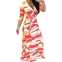 Gaoxu Cintura elástica estampada con cuello en V vestido, Europa y America gran péndulo tipo vestido de mujer,YD5021 red,XL,