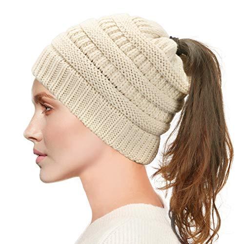 Dafunna Damen Mädchen Winter Strickmütze Gestrickt Verdicken Hut Warme mit Zöpfen Loch Loop Wintermütze Beanie für Pferdeschwanz Mütze