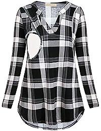Cinnamou mujer Blusas y Camisas premamá Lactancia en Cuello de V Ropa  Maternidad Camisetas de Manga Largas 74e5c0db900