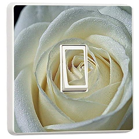 stika.co Lichtschalter-Aufkleber, einzeln, Motiv Blumen/Tiere/Natur/Sport white rose (Blumen Lichtschalter Covers)