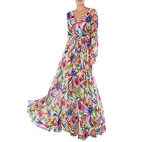 QIYUN.Z Ceintures Femmes Fleur Imprime Plissee Robe Manches Longues Lanterne Fleur Imprimer