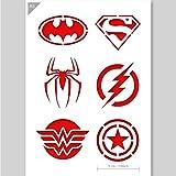 Superheld Emblem Logos Schablone - Karte oder Plastik - A5 14.8 x 21cm - Icon Durchmesser 5 cm - Wiederverwendbare Kinderfreundliche Schablone für Malerei, Handwerk, Kuchen, Wand, Möbelschablone (Plastik)