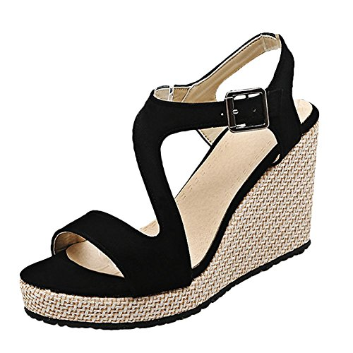 Misssasa donna sandalo elegante (35, nero)