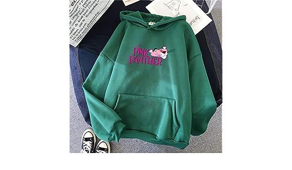 Y983yj Pullover Felpe con Cappuccio Stampate Donna Coreana Autunno Inverno Felpa con Cappuccio Felpa con Pantera Rosa Harajuku Divertente Abbigliamento Kawaii Felpa da Donna Color : Green, Size : M