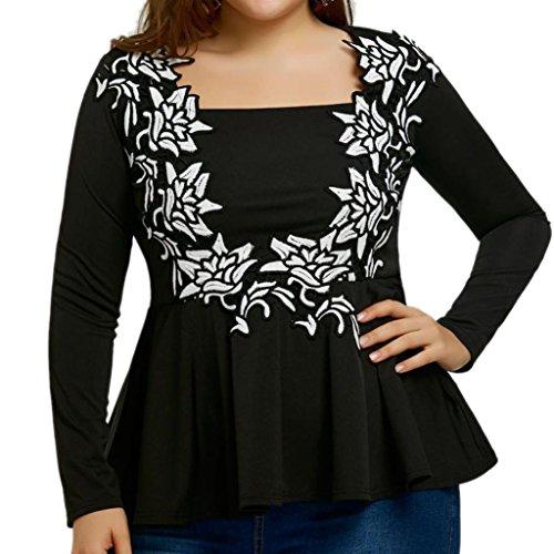 Ansenesna Damen Mode Charmante Bestickt Langarm T-Shirts Lotus Leaf Seite Komfortable Freizeit Bluse Tops L~5XL (Schwarz, L) (T-shirt Tan Besticktes)