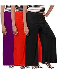 Fashion Store Women's Combo Plazo Of 3 (Purple, Black & Red ,Free Size)