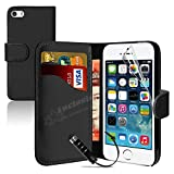 MobileConnect4U Black PU Leather Wallet/Flip Case For iPhone 5/5S With Screen Protector And Stylus Bild