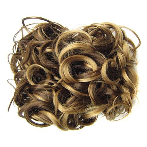 Lurrose Corto, desordenado, rizado, pelo, bollo, cabello, peines en extensión de cola de caballo, peluca de moda para mujer (Light Gold Brown)