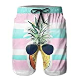 Men's Shorts Summer Athletic Swim Trunk Quick Dry Fashion Pineapple Sunglasses Printed Beach Shorts with Pockets Medium