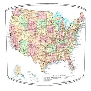 Premier Lampshades–Tabla Mapa de Carreteras de América Drum Pantalla