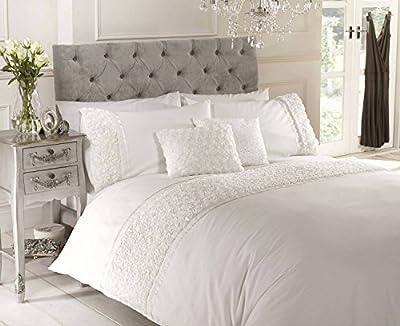 Chateau de Belle Maison Raised Rose and Ribbon Duvet Quilt Cover Bedding Set, Polycotton, Cream, Single - cheap UK light shop.