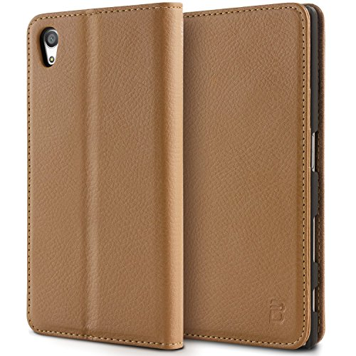 Sony Xperia Z5 Premium Tasche, BEZ® Sony Xperia Z5 Premium Hülle, Schutzhülle Handyhülle aus Kunstleder Flip Cover Taschenhülle mit Kreditkartenhaltern, Standfunktion, Geldbeutel, Magnetverschluss - Braun