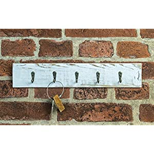 Flussbrett Schlüsselbrett weiß mit 5 Haken, Schlüsselboard aus Altholz Obstkiste Apfelkiste aus Holz