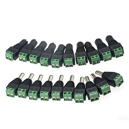 NUOLUX 10 Paar 2.1 * 5.5 mm männlich und weiblich DC Power Steckverbinder Jack Adapter für CCTV-Kamera-/LED-Streifen leuchtet
