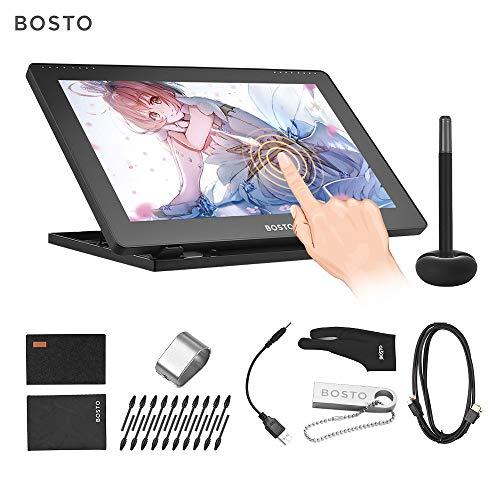 Aibecy BOSTO 16HDT 15,6Zoll H-IPS LCD Grafiktablett Display des kapazitiven Touchscreens 8192 Druckstufe Aktivtechnologie USB betriebenes Zeichen Tablet mit geringem Verbrauch und interaktivem Stylus