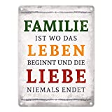 trendaffe Familie ist Leben und Liebe Blechschild in 15x20 cm - Metallschild Reklameschild Dekoschild