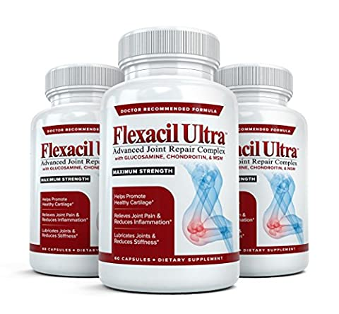 Flexacil Ultra - (3 bottles, 60 caps each) The Most Advanced Joint Repair and Pain Relief Formula - Premium Grade Glucosamine, Chondroitin, MSM, Hyaluronic acid and Omega 3 Fish Oil - Highest Potency