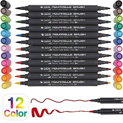 PuTwo Pinselstifte in 12 Farben Wasserfarben Stifte mit zwei Spitzen Wasserbasis Markers Kalligraphie Stift Aquarellstifte Pinselstifte Set für Kalligrafie und Mangas - 0,8mm und 1-2mm Pinselspitze