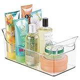 mDesign Contenedor con asas para baño y ducha - Práctica caja de almacenaje para botes de champú, gel, cremas, cepillos y articulos de aseo - Organizador de baño -...