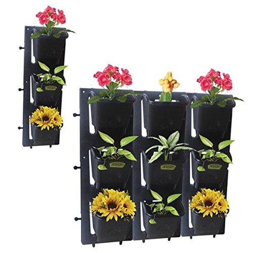 Siva Homes & Naturals Vertical Garden Bio Wall Hanging Planter Black Color(4...