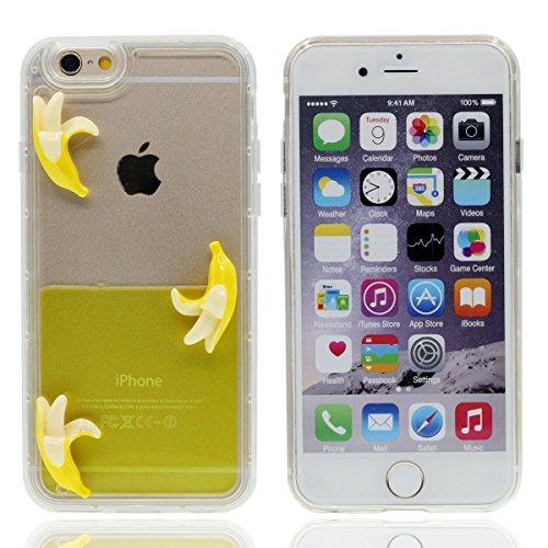 """Rigide Transparent Coque Étui pour Apple iPhone 6S 4.7"""", 3D Fruits Série iPhone 6 Case Coloré Eau Liquide Style ( Banane ) Jaune"""