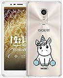 Sunrive Für Alcatel 3C Hülle Silikon, Transparent Handyhülle Schutzhülle Etui Case für Alcatel 3C(TPU Einhorn 3)+Gratis Universal Eingabestift
