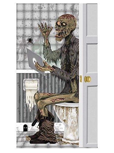 Unbekannt Halloween Tür-Deko Zombie Badezimmer grau 76x152cm Einheitsgröße