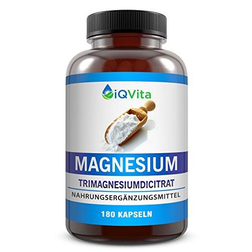 Magnesium – 750mg Magnesium-Citrat pro Kapsel – 2250mg je Tagesdosis – 180 Kapseln – hochdosiert – vegan – OHNE Magnesiumstearat – OHNE Zusatzstoffe – hergestellt in Deutschland - Einführungspreis