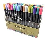 STA Twin Brosse marqueurs avec pointe feutre fin 80 aquarelle Base marqueur, parfait pour artistes, aquarelle, croquis, Colorant Brush Marker Set